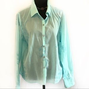 J. Jill Turquoise Embroidered Button Down Blouse